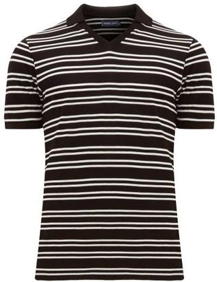 Frescobol Carioca V Neck Striped Cotton Pique Polo Shirt - Mens - Black White