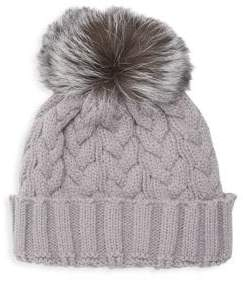 5a2147908af Adrienne Landau Natural Fox Fur Pom Pom Hat