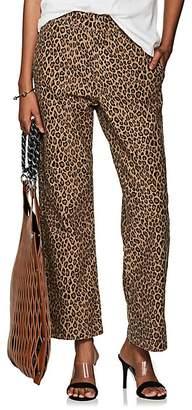 R13 Women's Leopard-Print Cotton Crop Trousers