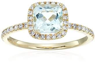 10k Yellow Gold Aquamarine and Diamond Cushion Halo Engagement Ring (1/4cttw