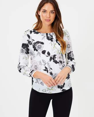 Wallis Leaf Floral LS Shell Top