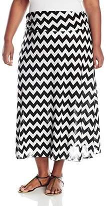 Star Vixen Women's Plus-Size Foldover Waist Printed Maxi Skirt