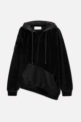 NO KA 'OI NO KA'OI - Epaki Asymmetric Mesh And Cotton-blend Velour Hoodie - Black