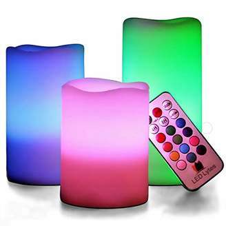 LED Lytes Flickering Flameless Candles - Battery Operated Candles Vanilla Scented Set of 3 Round Ivory Wax Flickering Multi Colored Flame