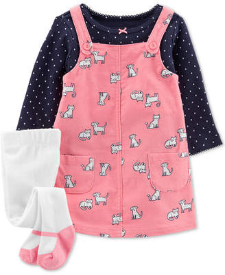 Carter's Carter Baby Girls 3-Pc. Dot-Print T-Shirt, Animal-Print Corduroy Jumper & Footed Tights Set