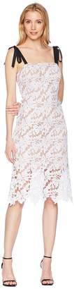 Donna Morgan Lace Dress with Contrast Self-Tie Shoulder Women's Dress