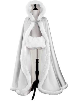BEAUTELICATE Wedding Cape Hooded Cloak for Bride Winter Reversible with Fur Trim Free Hand Muff Full Length 55 inches