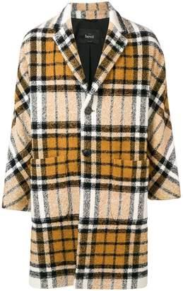 Hevo woven tartan overcoat