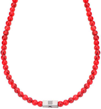 FINE JEWELRY Mens Simulated Red Turquoise Bead Stainless Steel Necklace