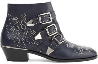 Chloé Susanna Studded Leather Ankle Boots - Midnight blue
