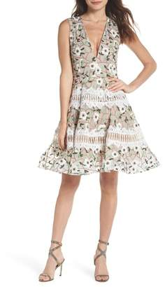 Bronx AND BANCO Boni Embroidered Plunging Fit & Flare Dress