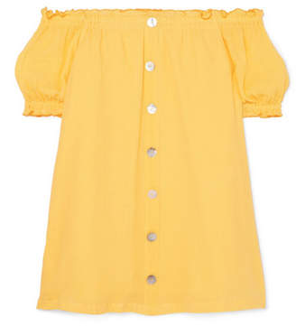 She Made Me Kali Off-the-shoulder Crinkled-cotton Mini Dress - Yellow