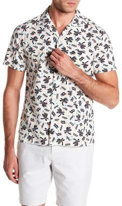 Original Penguin Palms Splatter Print Short Sleeve Heritage Slim Fit Shirt