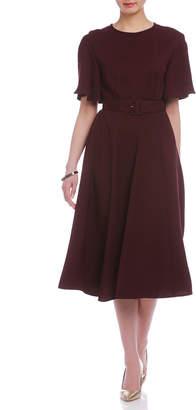 Epoca (エポカ) - EPOCA フィット&フレア ベルト付 半袖ドレス ボルドー 40