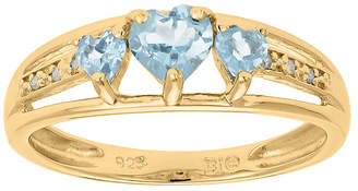 JCPenney FINE JEWELRY Simulated Aquamarine and Diamond-Accent 3-Stone Heart Ring
