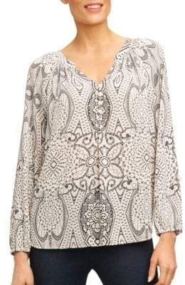 Foxcroft Printed Long-Sleeve Top