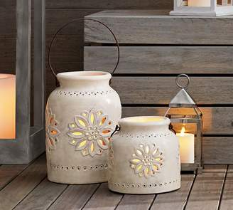Pottery Barn Punched Ceramic Lanterns