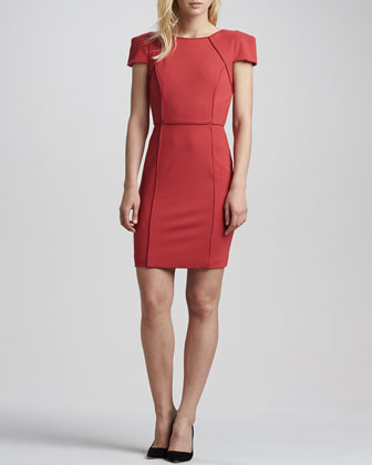 4.collective Piped Cap-Sleeve Fitted Dress