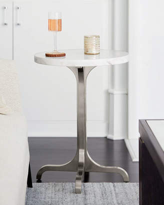 Bernhardt Decorage Marble-Top Stainless Base Side Table