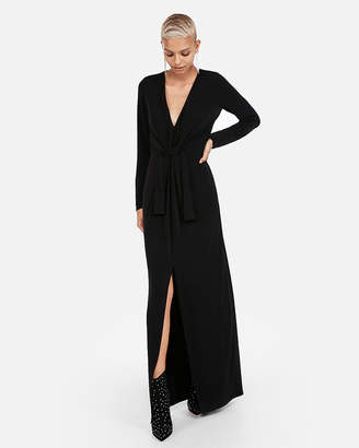 Express Plunging Knot Front Maxi Dress