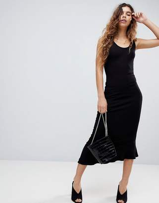 Asos DESIGN maxi tank dress with scoop back and asymmetric frill hem