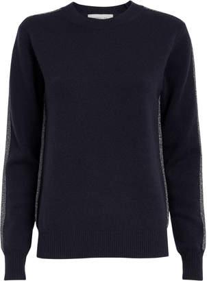 Derek Lam 10 Crosby Lurex Striped Navy Cashmere Sweater