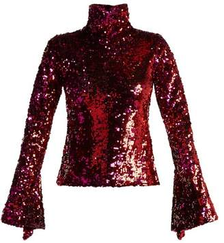 Halpern Sequin Embellished High Neck Top - Womens - Fuchsia