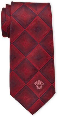 Versace Red & Maroon Dizzy Squares Silk Tie