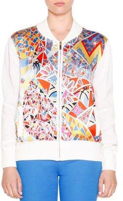 Emilio Pucci Printed Zip-Front Cardigan, Celeste/Multi Colors $1,120 thestylecure.com