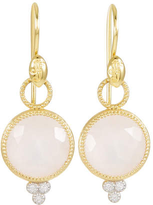 Jude Frances 18K Gold Provence Round Drop Earrings - Rose Quartz