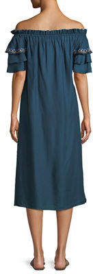 Red Carter Off-The-Shoulder Embroidered Maxi Dress