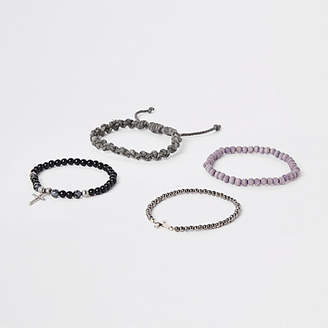 River Island Grey bead and rope bracelet pack