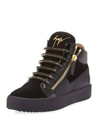 Giuseppe Zanotti Men's Crystal-Lace Velvet & Leather Mid-Top Sneakers