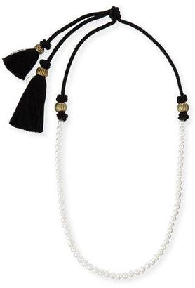 "Lanvin Long Pearly Necklace with Tassel Ends, 39.5"" $685 thestylecure.com"