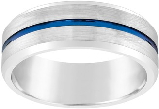 Men's 8mm Black & Blue Ion-Plated Tungsten Wedding Band Ring
