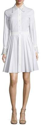 Michael Kors Crystal-Eyelet Trim Long-Sleeve Shirtdress, Optic White