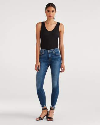 7 For All Mankind High Waist Ankle Skinny with Chewed Hem in Blue Monday