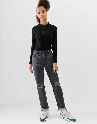 Noisy May straight jean with fray hem in black