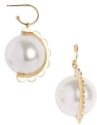 Simone Rocha Half Scallop Imitation Pearl Drop Earrings