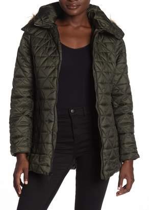 Andrew Marc Rosebank Quilted Faux Fur Trim Hood Coat