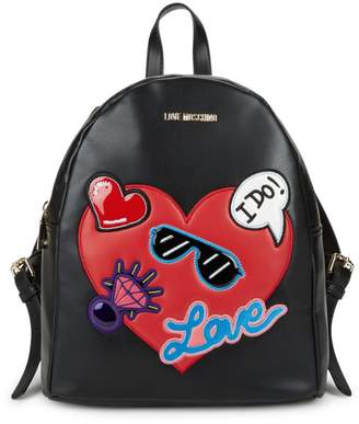 Love Moschino Patch Faux Leather Backpack