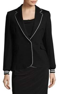 Helene Berman Piped Button-Front Blazer