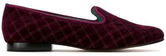 Blue Bird Shoes quilted velvet loafer
