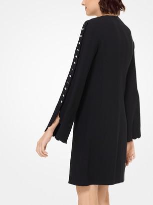 Michael Kors Double Crepe-Sable Scalloped Shift Dress