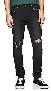 Purple Men's P001 Distressed Slim Jeans-Black
