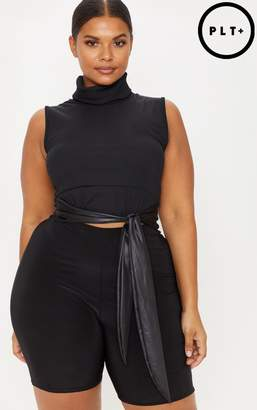 PrettyLittleThing Plus Black Roll Neck Sleeveless Ribbed Crop Top