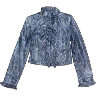 Giorgio Armani Blue Leather Jackets