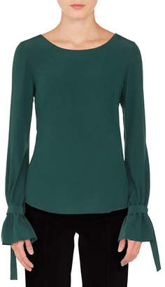 Akris Punto Round-Neck Bow-Cuffs Silk Blouse