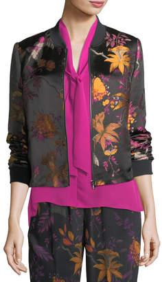 Neiman Marcus Kobi Halperin Laicey Floral-Print Silk Bomber Jacket