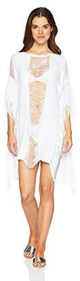 Kenneth Cole New York Women's Fringe Pull On Cover up Beach Dress